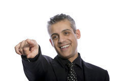 Portrait of a businessman pointing with his finger on something Stock Image