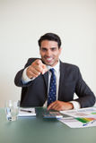 Portrait of a businessman pointing at the viewer Stock Photo
