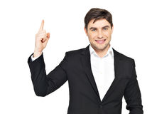Portrait of businessman points his finger up Royalty Free Stock Photo