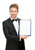 Portrait of businessman showing folder Royalty Free Stock Photo
