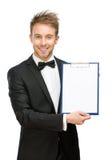 Portrait of businessman showing folder. Half-length portrait of businessman showing folder, isolated on white Royalty Free Stock Photo