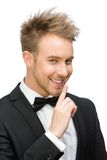 Portrait of businessman silence gesturing Royalty Free Stock Image