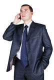 Portrait of the businessman speaking by phone Royalty Free Stock Photography