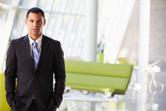 Portrait Of Businessman Standing Modern Office Reception Stock Photo