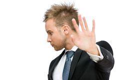 Portrait of businessman stop gesturing Stock Image