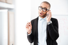 Portrait of businessman talking on the mobile phone. Portrait of a businessman talking on the mobile phone looking away Stock Images