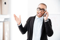 Portrait of businessman talking on the mobile phone Stock Photos