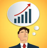 Portrait of businessman thinking with high graph icon. business concept. EPS10 Stock Images