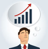Portrait of businessman thinking with high graph icon. business concept. EPS10 Royalty Free Stock Photos