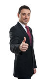 Portrait of businessman thumbing up Stock Images