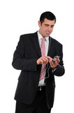 Portrait of a businessman using ipod Stock Photography