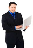 Portrait of a businessman using laptop Stock Image
