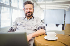 Portrait of businessman using laptop in office Stock Photos