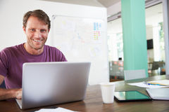 Portrait Of Businessman Working In Creative Office Stock Image