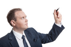 Portrait of businessman writes Royalty Free Stock Image
