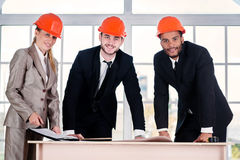 Portrait of businessmen architects stock image