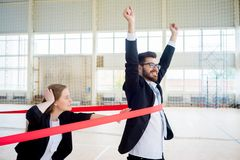 Businesspeople on a finish. A portrait of businesspeople running on finish Royalty Free Stock Photos