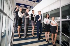 Portrait of businesspeople. Showing sign of okay Royalty Free Stock Image