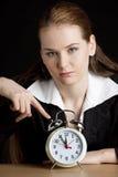 Portrait of businesswoman. With an alarm clock Stock Photos