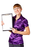 Portrait of a businesswoman with blank binder Royalty Free Stock Images