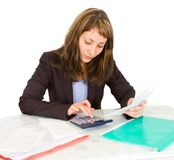 Portrait of a businesswoman with a calculator Stock Photos