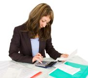 Portrait of a businesswoman with a calculator Royalty Free Stock Photo