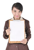 Portrait of businesswoman carrying blank folder Royalty Free Stock Image