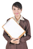 Portrait of businesswoman carrying blank folder. Isolated on white background Stock Photography