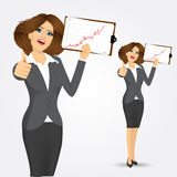 Portrait of businesswoman with clipboard. And giving thumbs up  over white background Stock Photo