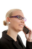Portrait of businesswoman in closeup on the phone stock photos