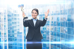 Portrait of businesswoman with cup stock photos