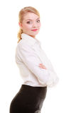 Portrait businesswoman. Elegant young woman blond girl isolated. Stock Photo