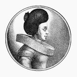 Portrait of a businesswoman of Frankfurt in XVII century Stock Images