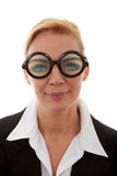 Portrait of businesswoman with funny glasses Stock Images
