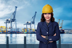 Portrait of a businesswoman in the harbor Stock Photography