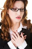 Portrait of businesswoman with heart disease Stock Image
