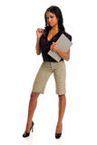 Portrait of Businesswoman Holding Binder Royalty Free Stock Image