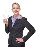 Portrait of a businesswoman holding glasses Stock Photos