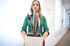 Portrait of businesswoman holding plant made from British pounds Royalty Free Stock Photos