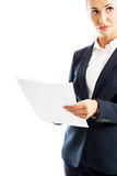 Portrait businesswoman holding sheets of paper Stock Photography