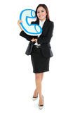 Portrait of businesswoman holding sign of telephone Royalty Free Stock Photos