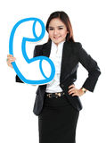 Portrait of businesswoman holding sign of telephone Royalty Free Stock Photography