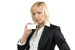 Portrait of businesswoman holding visit card Stock Image