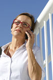Portrait businesswoman on mobile phone Royalty Free Stock Photos