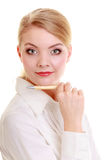 Portrait businesswoman with pen. Elegant woman blond girl isolated Stock Photos