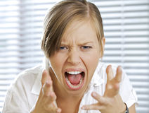 Portrait of businesswoman shouting Royalty Free Stock Images