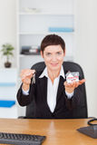 Portrait of a businesswoman showing Stock Images
