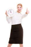 Portrait businesswoman showing clock and thumb up. Time. Royalty Free Stock Photos