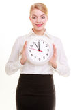 Portrait businesswoman showing clock. Time for woman in business Royalty Free Stock Images