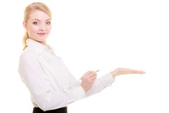 Portrait businesswoman showing copy space on empty hand. Ad. Stock Photos